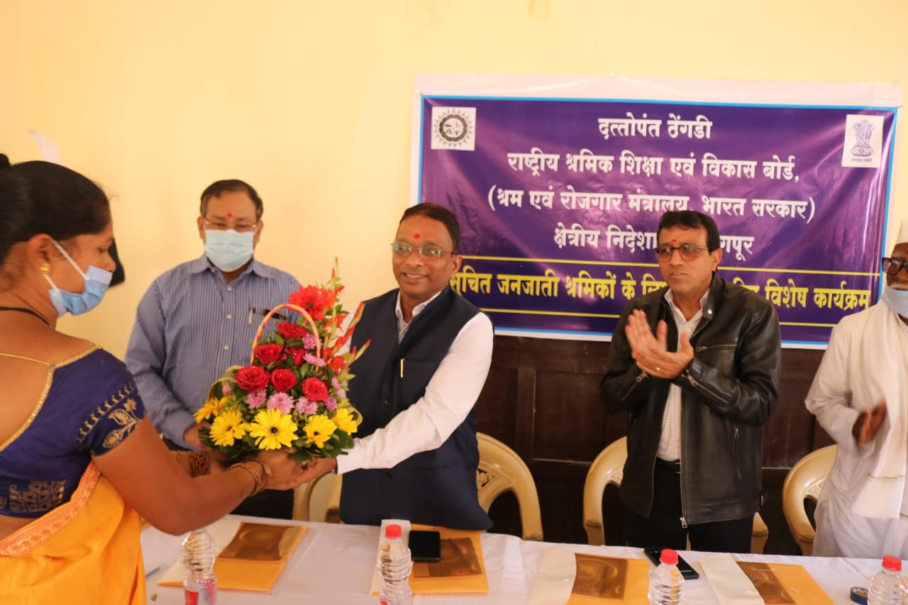 <p>Shri Virjesh Upadhyay, ChairmaN, DTNBWED being welcomed during&nbsp;his visit to a Special Programme for TSP Workers conducted by Regional Directorate, Nagpur at village Pipariya, Ramtek on 04-05 February, 2021</p>